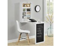 Brand New Wall-integrated Desk Computer Table Folding White with Shelves Space-Saving
