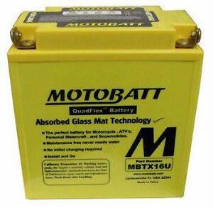 Motobatt MBTX16U AGM battery replaces YUASA YTX16-BS-1,YTX20CH-BS Enmore Marrickville Area Preview