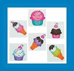12 Cupcake & Ice Cream Cone Sweet Treats Glitter Temporary Tattoos Party Favors