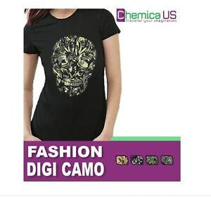 "CHEMICA FASHION DIGITAL CAMO HEAT TRANSFER VINYL 12"" X 15"" CRAFT"