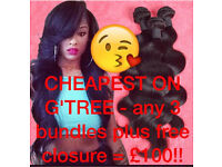 CRAZY SALE 50% OFF Brazilian/Peruvian/Malaysian Virgin remy hair/weave-we deliver direct2u sameday