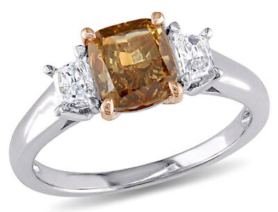 Amour Brown & White Diamond 3-Stone Engagement Ring in 2-Tone 14k Gold 7