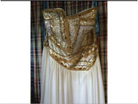 ONO Terani Prom Dress white and gold sequinned