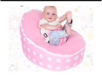 Baby bean bag in pink and white polka dots + toddler cover.