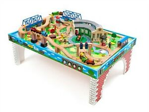 Thomas and friends train table with many tracks and trains