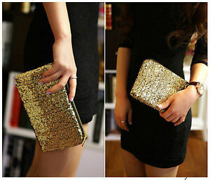 Lovely Sequins Handbag Clutch, Black, Silver, Gold or Rose - New