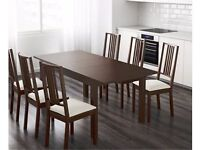 Ikea Bjursta Brown Extending Table & 6 Borje Chairs FREE DELIVERY (04585)