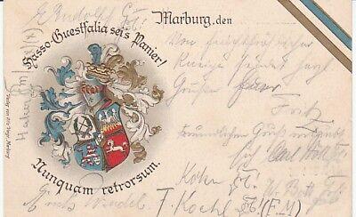 Studentika Couleurkarte 1909 Landsmannschaft Hasso-Guestfalia Marburg Studentica