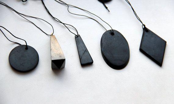 SoltekOnline: Shungite Stone Pendant Genuine Mineral EMF Shield