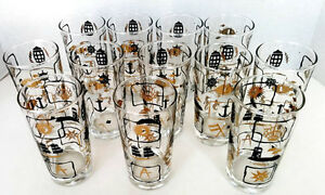 Vintage TUMBLER Gold and Black  Nautical Theme GLASS West Island Greater Montréal image 4