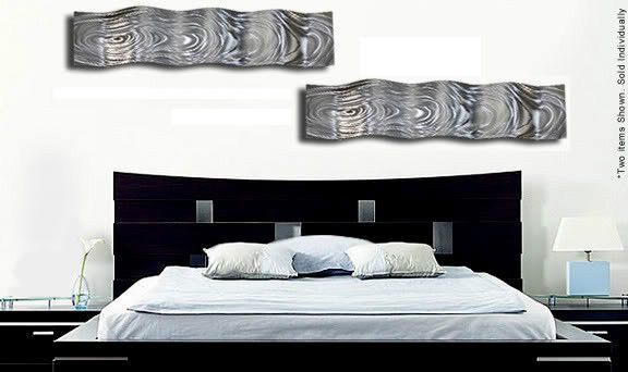 Modern abstract silver wave metal wall art sculpture home for Modern silver home accessories