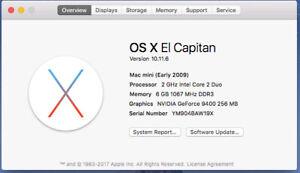 Mac Mini 2Ghz Intel Core 2Duo, 6 GB Ram, 320 GB HD