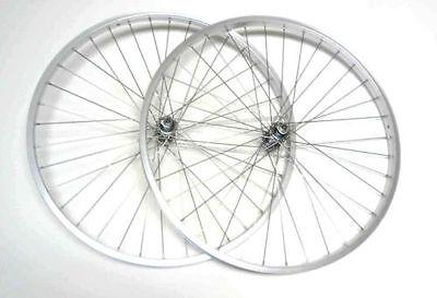 """26"""" x 1.5 Mountain Bike 7 speed Front & Rear Wheels Clincher Rims Silver"""