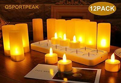 QSPORTPEAK Velas eléctricas y LED sin Llama 12 Velas Recargables (Amarillo)