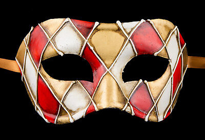 Mask from Venice Colombine Checkerboard Red Paper Mache -Doré- 2316 -VG3F