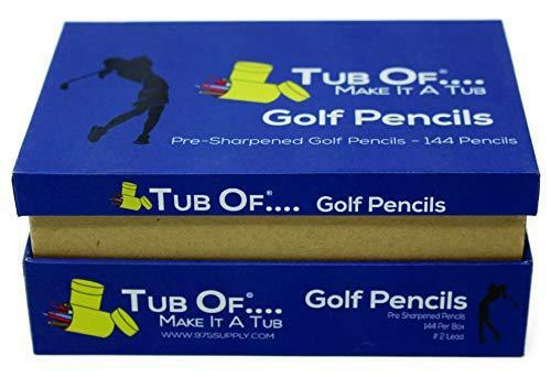Golf Pencils - Tub Of Brand - Pre-Sharpened - Hexagonal Barrel - 144 Each