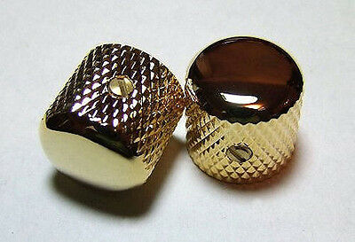 Guitar Parts METAL DOME KNOBS Knurled Barrel - 1/4in Hole - Set of 2 - GOLD