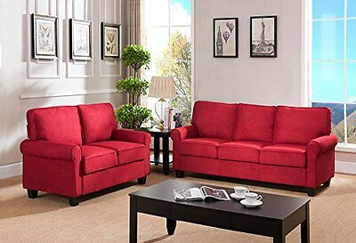 Kings Stamp Furniture Red Microfiber Fabric Sofa & Loveseat Living Room Set