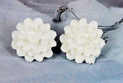 CLIP ON vintage lucite WHITE PEONY FLOWER EARRINGS
