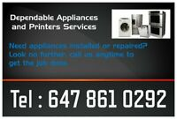 APPLIANCE REPAIRS : Washers, Dryers, Fridges and Electric stove