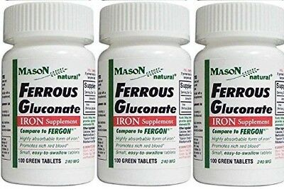 FERROUS GLUCONATE IRON SUPPLEMENT 100 Country-like TABLETS PACK OF 3