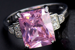 Bague Zircon Cubique Rose, Pink Cubic Zirconia Ring