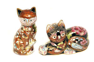 Small Decorative Cloisonne Cats from China