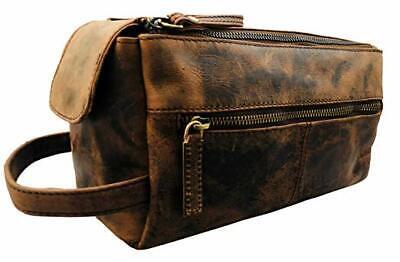 dcaaae8fb278 Vintage Leather Canvas Travel Toiletry Bag Shaving Dopp Kit Men Shaving Case