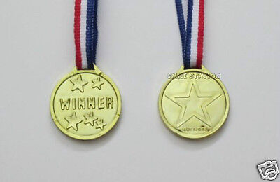 12 Plastic Gold Winner Medals Kid Party Goody Bag Game Carnival Race Prize Favor](Plastic Trophy)