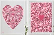 Two Framed Bold and Noble 'LOVE' prints in Raspberry from the UK Neutral Bay North Sydney Area Preview