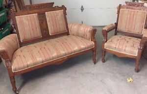 antique EASTLAKE loveseat and chair
