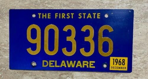 "Vintage 1968 Delaware License Plate #90336 ""The First State""  Riveted!"