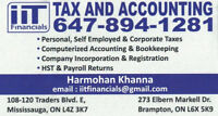 TAXES - PERSONAL,CORPORATE, HST, PAYROLL