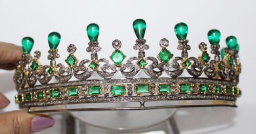 18.25cts ROSE CUT DIAMOND EMERALD ANTIQUE VICTORIAN LOOK 925 SILVER TIARA CROWN