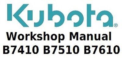 Kubota Workshop Manual For B7410 B7510 And B7610 Tractors On Cd