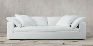 RH Cloud Sofa - White, Luxe Depth, 9ft , Belgian Linen