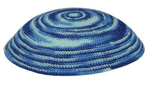 Blue Whirlpool Knit Yarmulke Yamaka Judaica 17 cm kippot Skull Cap Kippah Kipa