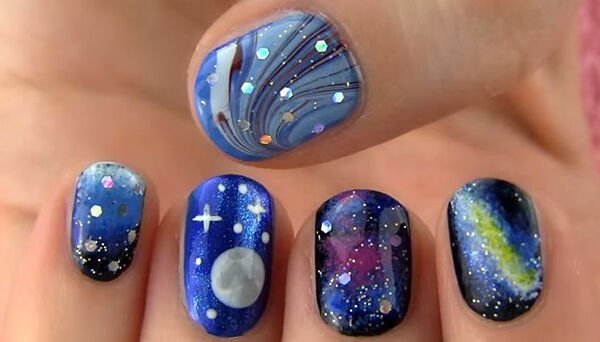 Galaxy Nail Art Milky Way And Full Moon Ebay