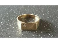 9 ct gold hallmarked signet ring with real diamond 9ct hallmark