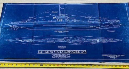 "Vintage US Submarine S48 1921 Blueprint Plans 2 sheets  36""x17"""