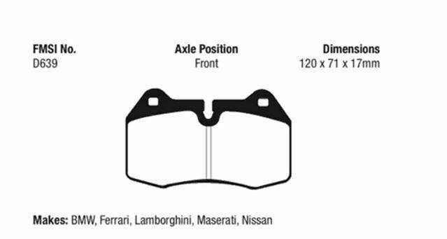 EBC Yellowstuff Brake Pad Set for 11-14 Audi TT RS 2.5 Turbo # DP42070R