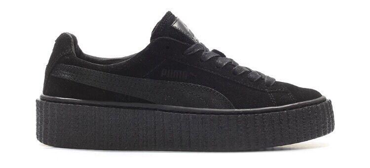 698b78b1d876 Rihanna X Puma Fenty Suede Creepers Satin Black Size UK 3.5 4 5 5.5 6 7  Brand New