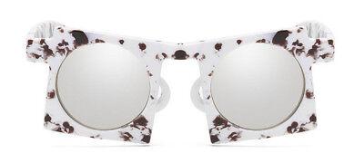 Sonnenbrille Design Schwarz Weiss Blogger NEU Verspiegelt Rund Damen Quadrat ()