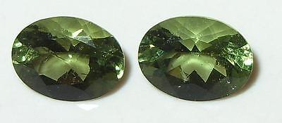 1.92ct Pair Faceted TOP QUALITY Natural Czechoslovakia Moldavite Oval Cut 8x6mm