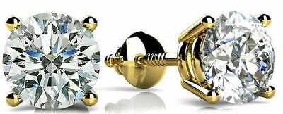 1 carat Round Diamond Stud 18k Yellow Gold Earring E Internally Flawless GIA 6