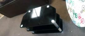 Black glass three shelf TV unit can deliver