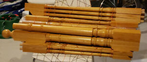 Set of oak spindles (balusters) and posts for indoor staircase