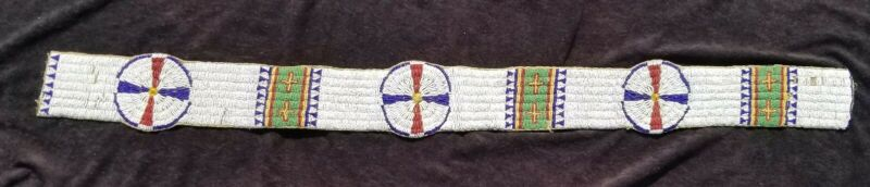 Antique Sioux Native American Indian Beaded Blanket Strip