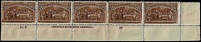 #234 BOTTOM PLATE STRIP OF 5 1893 5c COLUMBIAN ISSUE  MINT-OG/3 STAMPS NH/2-H