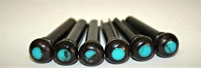 Acoustic Sets Guitar Bridge -  Set 6 acoustic guitar ebony bone bridge pins with  turquoise stone dot (size 1)
